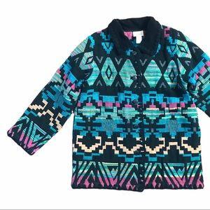 Vintage Tribal Print Colorful Retro Blazer